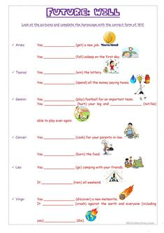 In this worksheet students will practise Future for predictions with Will. They have to write what will happen to the people from each of the Zodiac signs by. English Teaching Resources, Teaching English Grammar, Futuro Simple, Ingles Kids, English Exercises, 1st Grade Writing, Grammar Worksheets, Spelling Words, Teaching Jobs