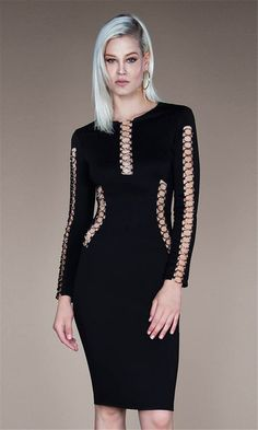 61030f38ac4 O-neck hollow out both sides black evening dress Sexy Dresses