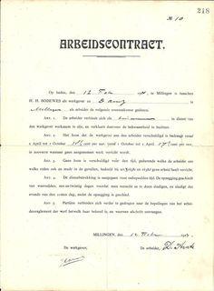 arbeidscontract 1914  scheepswerf Bodewes, Millingen