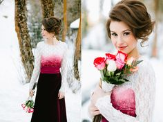 Gorgeous hair for winery events or photos. Magical Valentine's Love Shoot In The Snow | Bridal Musings | A Chic and Unique Wedding Blog