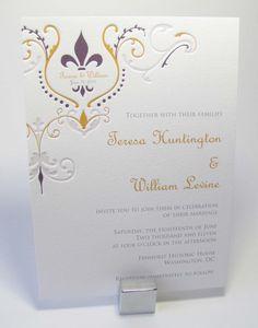 Fleur de Lis Wedding Invitations by LetterpressLight on Etsy.