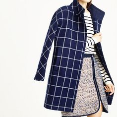 Cocoon coat in windowpane check