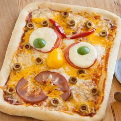 Scare up some fun this Halloween with this monster face pizza! Let the kids design their own for a truly scary night!