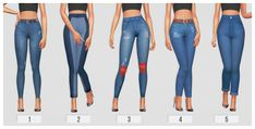 "passion4pixels: ""CURRENT CC FAVES: FEMALE JEANS 1. jeans made high-waisted by @lyriumsims [x] 2. marais jeans (non fixed version) by @citrontart [x] 3. knee patched jeans remake by @plumboops [x] required mesh by @mik-up [x] 4. comfy jeans by..."