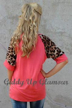 Far From Simple Coral Tee with Cheetah Sleeves Use Code: GUGREPMARCY for 10% off your ENTIRE order!