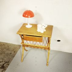 Bedside table in rattan and bamboo from the 1960's.