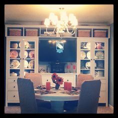 IKEA - awesome use of HEMNES... but a TV in the dining room? seriously?