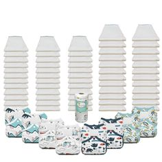 All the prefold diapers and diaper covers you will need thru 30 lbs based on washing every 3 to 5 days. Includes:  36 Bleached - Infant 4x8x4 prefolds (3 dozen) 24 Bleached - Premium 4x8x4 prefolds (2 dozen) 4 Thirsties Duo Wrap Diaper Covers (size 1) 4 Thirsties Duo Wrap Diaper Covers (size 2) 1 roll of OsoCozy Flushable Diaper Liners