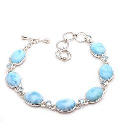 Larimar Bracelets Natural Gemstone Bezel set in Solid 925 Sterling Silver #Rananjay #HandmadeBracelets