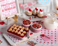 Made with sweet juicy cherries and topped with pastry hearts dusted with powdered sugar, this mini cherry cobbler makes a tasty Valentines dessert! Two mini cherry cobblers in cute Valentines ramekins complete this set.  All other items for decorative purposes and not included.  Not for children.  Thanks for visiting my shop