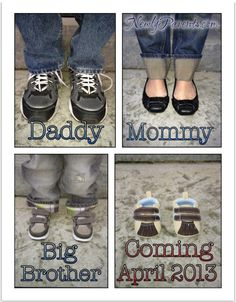 Baby Shoes - Cute Pregnancy Announcment with the family's shoes