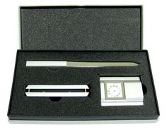 Engravable Executive Desk Top Boxed Gift Set – Paper Knife Paper Weight Clock in Business, Office & Industrial, Office Equipment & Supplies, Office Equipment Office Depot Desks, Ebay Office, Desk Blotter, Presents For Men, Desk Clock, Industrial Office, Office Equipment, Desk Accessories, Best Dad
