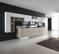 Cocinas lineales: La combinación de colores