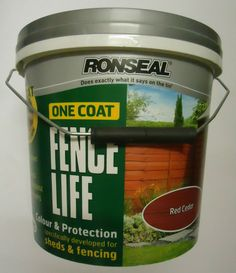 ronseal one coat fencelife shed and fence paint 5 litres red cedar