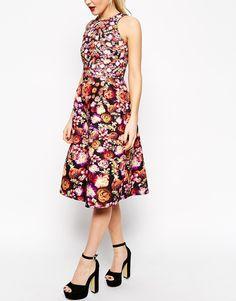 Image 3 of ASOS Midi Skater Dress in Bonded Floral Midi Skater Dress 7a32b7990