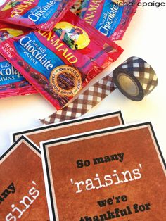 michelle paige: So Many 'Raisins' We're Thankful For You! Employee Appreciation, Appreciation Gifts, I Care Packages, Chocolate Raisins, 12 Days Of Xmas, Candy Grams, Care Box, Thanksgiving Treats, Team Gifts