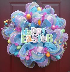 Turquoise and Pink Deco Mesh Easter Wreath by twoBFs on Etsy, $125.00