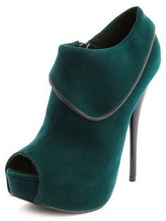 ShopStyle: Velvet Collar Peep-Toe Bootie