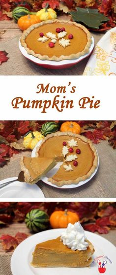 Moms Pumpkin Pie | 2 Cookin Mamas Creamy, rich pumpkin pie that's easy to make & comes out perfect every time. #recipe #dessert