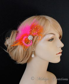 Feather Fascinator Orange and Hot Pink Wedding by Mikiye Creations