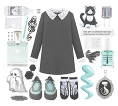 """""""pretty"""" by morganamerica ❤ liked on Polyvore featuring T.U.K., Couture by Lolita, Obsessive Compulsive Cosmetics, Forever New, mark., Other, Stila, Anya Hindmarch and Essie"""