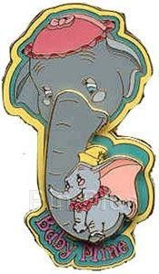 Disney WDW - Mother's Day 2002 (Baby Mine / Dumbo / Mrs. Jumbo). This pin from WDW celebrates Mother's Day. It featuers Dumbo swinging on his Mother's trunk. The bottom of the pin reads Baby Mine. approximate size:2 ½ inches x 1 inch This picture is courtesy of Pinpics site.