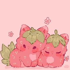 Strange creatures like strawberry cats they love snuggles and eating sunshine, most commonly found in groups and pairs for their protection Cute Kawaii Animals, Cute Animal Drawings Kawaii, Cute Little Drawings, Cute Drawings, Arte Do Kawaii, Kawaii Art, Animes Wallpapers, Cute Wallpapers, Pink Drawing
