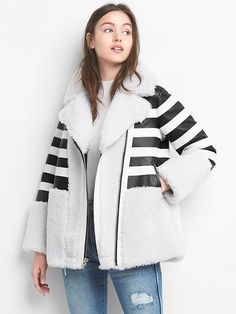 Limited Edition leather stripe shearling coat