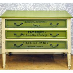 Antique Cream & Green French Style Painted Drawers