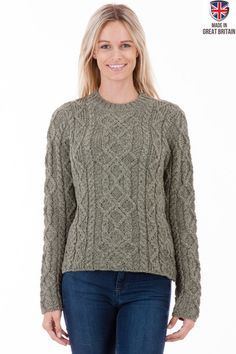 Sweaters Online - British made jumpers, some with British Wool Aran Jumper, Made In Uk, Jumpers, Merino Wool, Britain, Knitwear, Women's Clothing, Pullover, Clothes For Women
