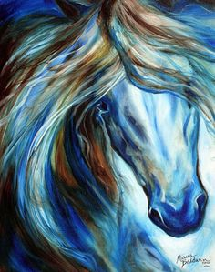 """Blue Mane Event Equine Abstract"" par Marcia Baldwin"
