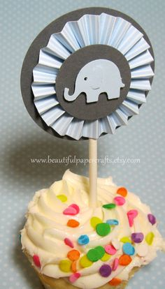 Blue and Gray Elephant Cupcake Toppers- Elephant Baby Shower Decorations..Set of 12. $14.00, via Etsy.