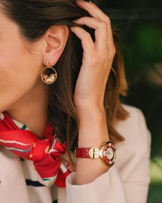 Stepping into summer in red accents. Handcrafted fire-enamel full of art and playful forms, that will make you want to wear our jewellery forever. Vincent Van Gogh, Red Accents, Enamel, How To Wear, How To Make, Jewels, Photo And Video, Vans, Classic