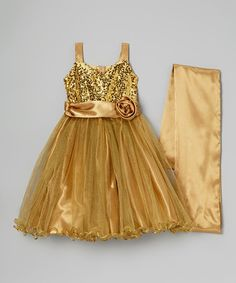 Another great find on #zulily! Gold Sequin Dress & Shawl - Infant, Toddler & Girls #zulilyfinds