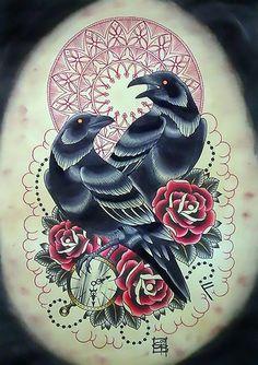Old School Crows Tattoo Design