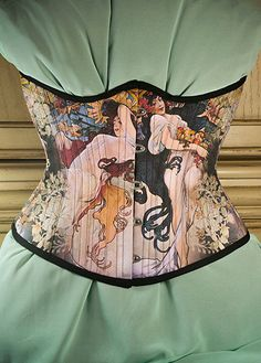 Alfons Mucha Corset Four Seasons Historical Art by RetroFolie