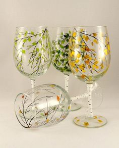 Hand Painted Wine Glasses 4 seasons Set of 4 by HiMaria on Etsy