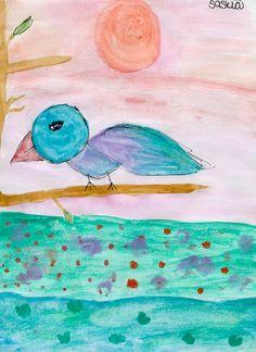 Cute Bird Watercolor Art Print