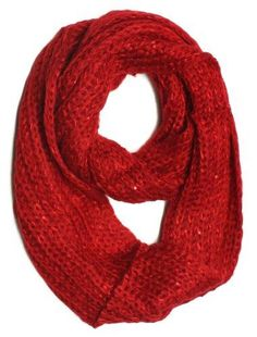 ForeverScarf Solid Color Knitted Infinity Loop Scarf, Red
