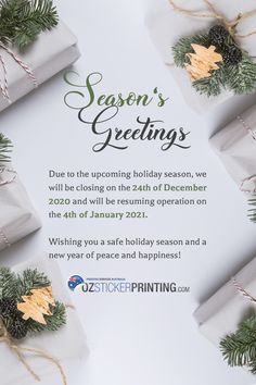 Happy holiday to all our beloved customers!🎅🎄 Thank you for your constant support. We're going to have a short holiday vacation and we can't wait to show you what's in store this 2021 ❤️ Wishing you a safe and beautiful holiday season! ✨ #OzStickerPrinting #happyholidays #holidays2020 #holidayseason Sticker Printer, Custom Sticker Printing, Personalized Stickers, Custom Stickers, Merry Christmas And Happy New Year, Happy Holidays, Are You Happy, Seasons, January 4