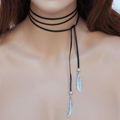 Black Leather Silver Feather Boho Lariat
