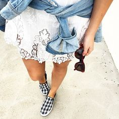 Lace dress/skirt, denim jacket, slip on shoes.