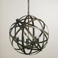 Ideal for an entry way or dining room. Metal Orb Chandelier found at World Market, Restoration Hardware and Z Gallerie. One of my top choices for homes we stage. Foyer Lighting, Dining Room Lighting, Pendant Lighting, Cabin Lighting, Coastal Lighting, Outdoor Lighting, Orb Chandelier, Modern Chandelier, Chandelier Ideas