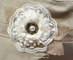 Altered Burlap Clutch and Altered Painter's Cap with the Shabby Chic Loop Flower
