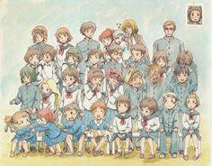 Imaginando una foto escolar de los personajes de Studio Ghibli