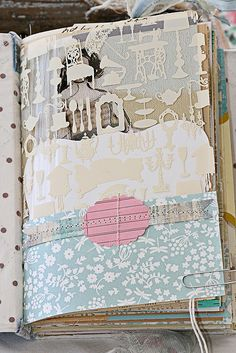 Mixed media journal-- I love the transparency layered in as well.