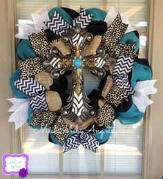Black burlap wreath, Cross with zebra print,  gold and turquoise, burlap ribbon on Etsy, $75.00