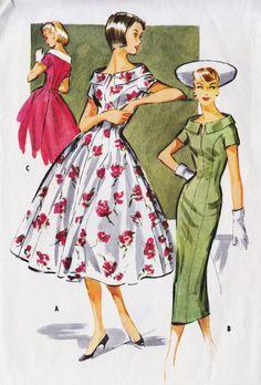 1950s Misses Princess Seam Dress with Full or Slim Skirt