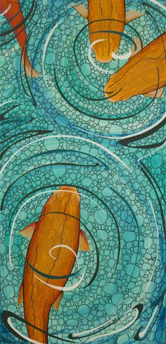 Art print, orange koi fish with memory board designs, teal water, pebbled background. $28.50, via Etsy.
