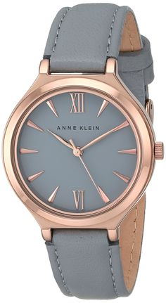 Anne Klein Women's AK/1846RGGY Rose Gold-Tone and Grey Leather Strap Watch: Watches